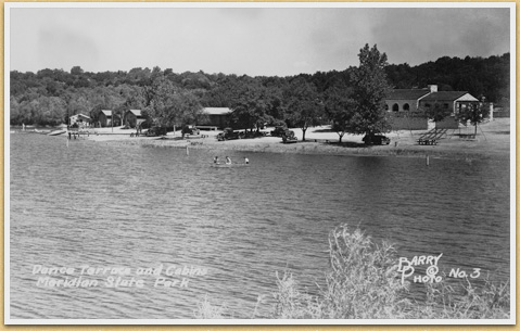 Postcard, Concession Building and Lake View, Meridian State Park, c. 1945